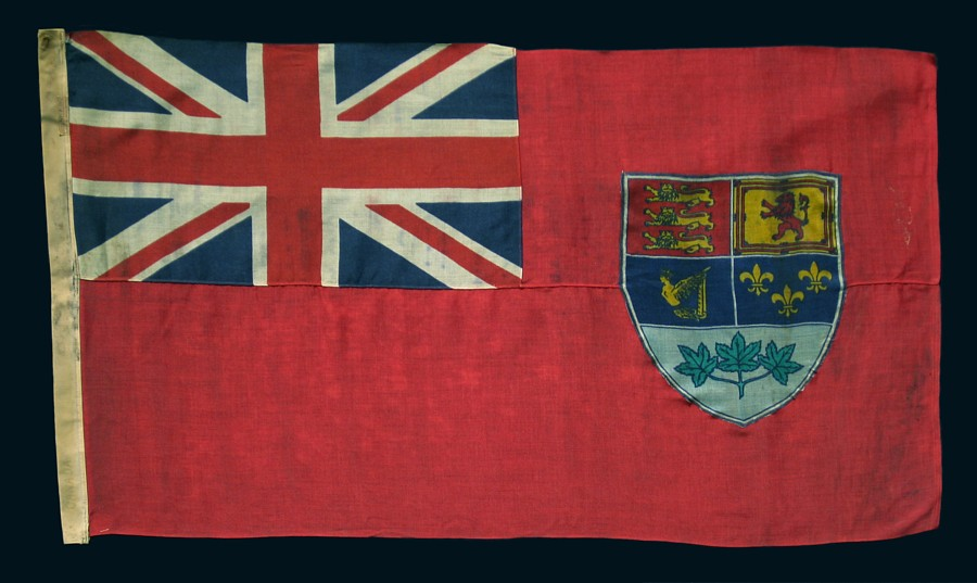 CANADIAN VERSION OF THE BRITISH RED ENSIGN  MADE BY ANNIN IN NEW YORK CITY  FOR. Jeff Bridgman Antique Flags and Painted Furniture   CANADIAN
