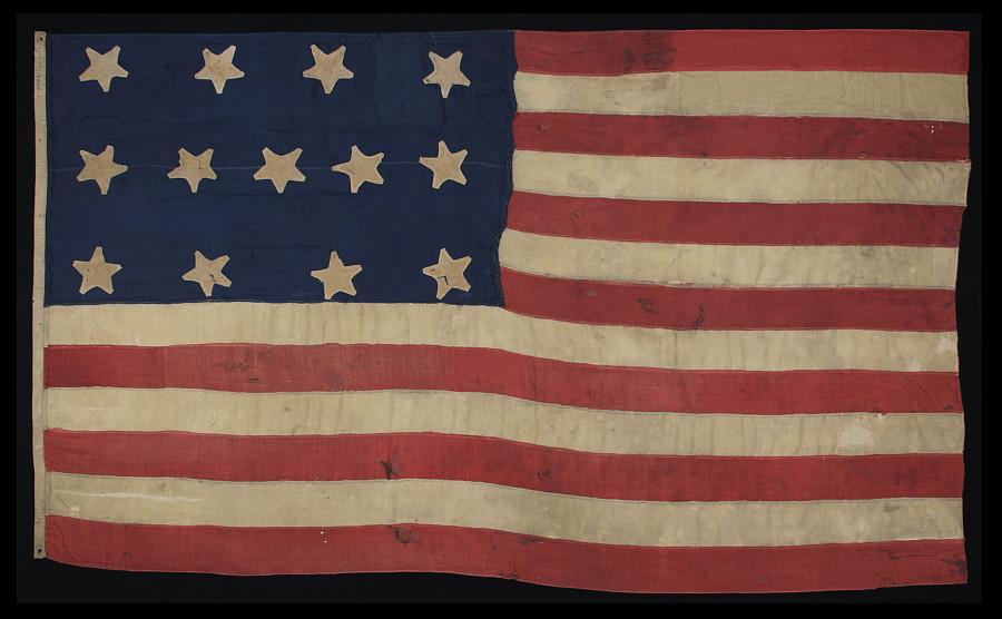 ANTIQUE AMERICAN FLAG WITH 13 STARS, AN EXTRAORDINARY SURVIVOR OF THE  1820 1840 PERIOD