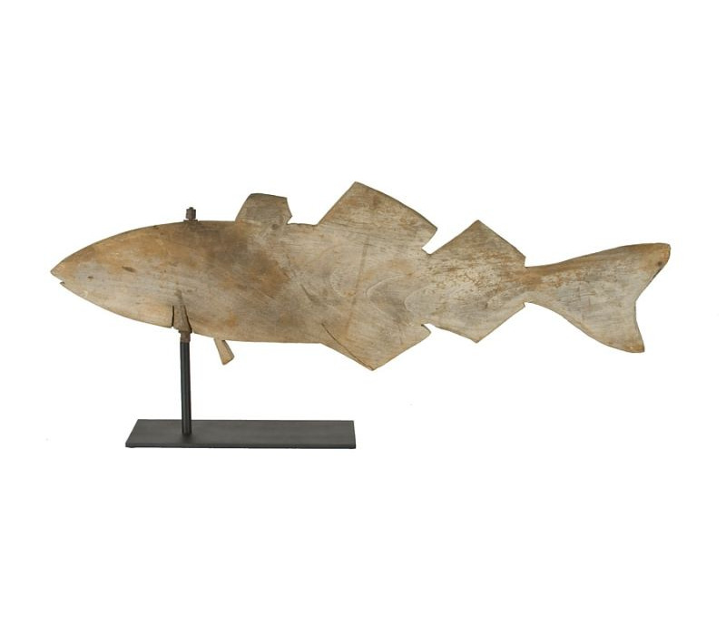 HOMEMADE WOODEN FISH WEATHERVANE WITH GREAT SILVERED PATINATION, CA 1920-40