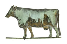 COW WEATHERVANE WITH GREAT FOLK QUALITIES, PURCHASED AT THE DOWNTOWN GALLERY IN NEW YORK IN 1949, TREMENDOUS SURFACE, CA 1870-90