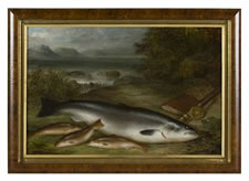 GEORGE E. FORSTER (1817-1896), STILL LIFE OF TROUT, NEW YORK, DATED 1888