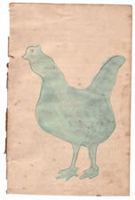 LANCASTER PENNSYLVANIA GERMAN WATERCOLOR OF A GREEN CHICKEN, CA 1843