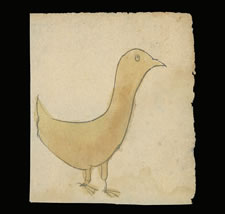 LANCASTER PENNSYLVANIA GERMAN WATERCOLOR OF A YELLOW BIRD, CA 1840-60