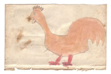 LANCASTER COUNTY, PENNSYLVANIA GERMAN WATERCOLOR OF AN ORANGE ROOSTER WITH RED LEGS, CA 1840-60