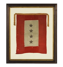 WWI SON-IN-SERVICE WINDOW BANNER WITH 4 STARS FOR FOUR SONS OR DAUGHTERS IN SERVICE DURING WARTIME