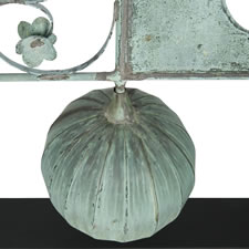 BANNER WEATHERVANE WITH AN EXTRAORDINARILY HUGE SPHERE, BEAUTIFUL FORM, AND GREAT VERDIGRIS SURFACE, Ca 1890