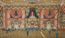 1868 PRINT OF TAMMANY HALL, DECORATED FOR THE 1868 DEMOCRATIC CONVENTION, NEW YORK CITY