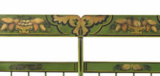 "BRIGHT GREEN, PLANK-SEATED SETTEE WITH PAINTED AND GILDED DECORATION, ESPECIALLY RARE WITH AN ORIGINAL PAPER MAKER'S FROM BROWN'S ""CHAIR MANUFACTORY"", READING PENNSYLVANIA (BERKS COUNTY), 1845-1865"