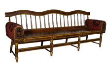 PAINT-DECORATED, PLANK-SEATED SETTEE WITH A UNIQUE, SERPENTINE CREST RAIL AND UPOLSTERED ARMS WITH THE HEART-IN-HAND SYMBOL OF THE ODD FELLOWS FRATERNAL LODGE ON THEIR WOOD PANELED FRONTS, MAINE OR PENNSYLVANIA ORIGIN, 1830-60