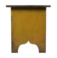 MUSTARD YELLOW WATER BENCH WITH GREAT COLOR, AND CRAQUELURE, AND SCALLOPED FEET, CA 1890