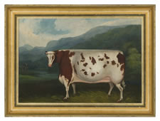 FOLK PAINTING OF A PRIZE COW, ca 1880