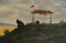 PAINTING OF A MOURNING INDIAN NEXT TO A BURIAL SCAFFOLD, SIGNED AND DATED 1898