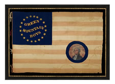 "SILK, CIVIL WAR BATTLE FLAG WITH ""GREEN MOUNTAIN BOYS"" GILT-PAINTED IN WHIMSICAL SERPENTINE TEXT, INSIDE A RING OF 20 STARS THAT EXCLUDES THE SOUTHERN STATES, WITH A FEDERAL EAGLE ON THE REVERSE; APPARENTLY DISPLAYED POST-WAR, AT WHICH TIME A PAINTED PORTRAIT OF GEORGE WASHINGTON WAS APPLIED OVER THE UNIT NICKNAME; THIS ALMOST CERTAINLY OCCURRED IN 1877, WHEN A GIANT CELEBRATION WAS HELD TO COMMEMORATE THE 100-YEAR ANNIVERSARY OF THE BATTLE OF BENNINGTON ( VERMONT ), AND HONOR A VISIT OF PRESIDE"