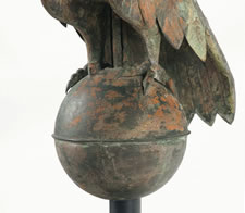 LARGE EAGLE WEATHERVANE, A PARTICULARLY EARLY EXAMPLE FOR THIS FORM, A GREAT FIND WITH LEGITIMATE EARLY SURFACE AND APPROPRIATE WEAR, CA 1850-80
