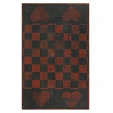 BLACK AND RED CHECKER BOARD WITH 4 LARGE RED HEARTS