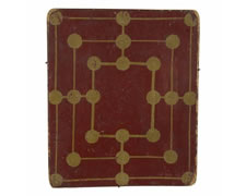 PAINTED, AMERICAN, FOX & GEESE GAME  BOARD IN SCARLET RED AND MUSTARD, 1840-60