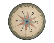 IMPRESSIVE TWO-SIDED GAME WHEEL WITH RED & BLUE STARS, ca 1910