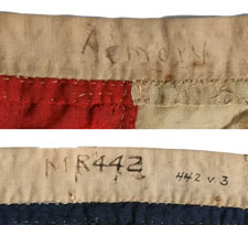 "ANTIQUE AMERICAN FLAG WITH 13 STARS, AN EXTRAORDINARY SURVIVOR OF THE 1820-1840 PERIOD OR PRIOR; FORMERLY ACCOMPANIED THE ""EASTON FLAG"" AT THE EASTON PUBLIC LIBRARY IN NORTHAMPTON COUNTY, PENNSYLVANIA"