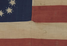 "CENTENNIAL CELEBRATION FLAG WITH 10-POINTED STARS THAT SPELL ""1776 - 1876"", ONE OF THE MOST GRAPHIC OF ALL EARLY EXAMPLES"