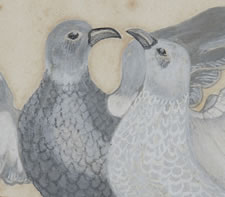 PAINTING OF A PAIR OF DOVES, PENNSYLVANIA, 1880