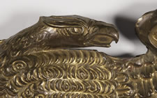 PRESSED BRASS EAGLE, AN EARLY PARADE FLAG HOLDER & BUNTING TIE-BACK, AN ESPECIALLY ATTRACTIVE EXAMPLE, ca 1890