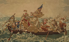 MAGNIFICENT NEEDLEWORK RENDERING OF EMANUEL GOTTLIEB LEUTZE'S PAINTING OF WASHINGTON CROSSING THE DELAWARE, IN ITS ORIGINAL FRAME WITH REVERSE-PAINTED AND GILDED GLASS, SIGNED AND DATED 1865