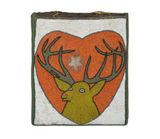 AMERICAN INDIAN BEADWORK MAIL POUCH WITH IMAGE OF AN ELK/STAG, CA 1880-90, NEZ PERCE, PACIFIC NORTHWEST.  THE PAINT DECORATED AND VENEERED MOLDING IS CA 1830-50