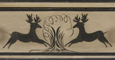 PAINT-DECORATED DRESSING TABLE FROM THE NEW PORTLAND AREA OF MAINE, WITH TWO LEAPING STAGS OR REINDEER, THE ONLY NEW ENGLAND DRESSING TABLE I HAVE EVER ENCOUNTERED WITH ANIMAL IMAGERY, CA 1830