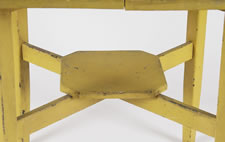 CHROME YELLOW COUNTRY TABLE WITH HIGHLY UNUSUAL FORM AND GREAT SURFACE, MAINE, CA 1890