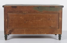 PAINT-DECORATED PENNSYLVANIA BLANKET CHEST, FOREST GREEN AND SALMON RED, FOUND IN UPPER BERN TOWNSHIP, SHARTLESVILLE, BERKS COUNTY, 1830-50
