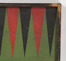 BACKGAMMON AND CHECKER BOARD WITH GREAT COLORS AND SURFACE, 1870