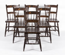 SET OF 6 PLANK-SEATED, HALF-SPINDLE-BACK, PAINT-DECORATED, PENNSYLVANIA CHAIRS, 1845-1865