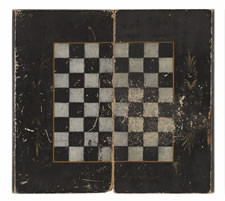 PAINT-DECORATED, BOOK-BOX STYLE, FOLDING BACKGAMMON BOARD IN RED, WHITE, AND BLACK, ca 1885