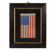 ANTIQUE AMERICAN FLAG WITH 13 STARS IN A MEDALLION CONFIGURATION, CHROMATIC BLUE & ORANGE , A RARE EXAMPLE, OPENING YEARS OF THE CIVIL WAR (1861-63)