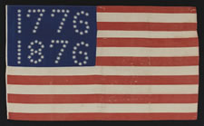 "ANTIQUE AMERICAN FLAG WITH 10-POINTED STARS ARRANGED TO SPELL ""1776 - 1876"", ONE OF THE MOST GRAPHIC OF ALL EARLY EXAMPLES"