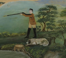 FOLK PAINTING OF A HUNTERS ON A WOODED LANDSCAPE, 1870-90