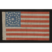 35 STAR ANTIQUE AMERICAN PARADE FLAG WITH DOUBLE WREATH STYLE MEDALLION STAR CONFIGURATION, 1863-1865, WEST VIRGINIA STATEHOOD