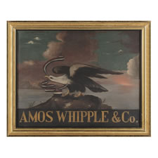 EARLY 19TH CENTURY OIL ON CANVAS PAINTED TRADE SIGN WITH AMERICAN EAGLE, CA 1830