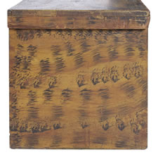 "BLANKET CHEST WITH BLACK BRUSHING AND SPONGING OVER CHROME YELLOW AND BEARING THE NAME ""WM, CHAMBERLAIN, JR"", NEW ENGLAND ORIGIN, FOUND IN VERMONT,  1800-1830"