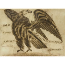 EAGLE CALLIGRAPHY DRAWING, 1860-1880, WITH AN UNUSUAL POSE, FROM THE GARVESH COLLECTION