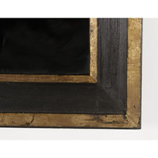 BLACK PAINTED & GILDED AMERICAN MIRROR, CA 1830