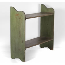 PENNSYLVANIA BUCKET BENCH IN APPLE GREEN PAINT, 1820-1865