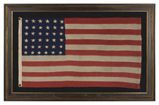 36 STARS, CIVIL WAR ERA, MADE BY ANNIN IN NEW YORK CITY, IN AN UNUSUAL TINY SIZE FOR THE PERIOD AND ENTIRELY HAND-SEWN, NEVADA STATEHOOD, 1864-67