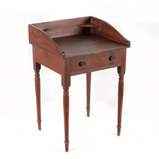 COUNTRY SHERATON WORK TABLE WITH SHAPED GALLERY AND CORNER SHELVES IN EXCEPTIONAL, RED-PAINTED AND DECORATED SURFACE, ca 1820, NEW ENGLAND
