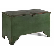 NEW YORK STATE BLANKET CHEST, WITH A WIDE, SCALLOPED FOOT AND SWEETHEART BOOTJACK ENDS, IN A BEAUTIFUL SHADE OF KELLY GREEN PAINT, CA 1810-1830