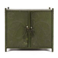 PENNSYLVANIA HANGING PIE SAFE IN OLIVE GREEN PAINT WITH HEX SYMBOL PUNCHING, 1840-70