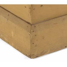 SMALL-SCALE, PENNSYLVANIA LIFT-TOP GRAIN BIN IN MUSTARD PAINT, CA 1860-80