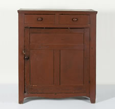 PENNSYLVANIA JELLY CUPBOARD IN TOMATO RED PAINTED SURFACE, 1820-40