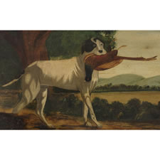 AMERICAN FOLK PAINTING OF A GUN DOG WITH A PHEASANT, 1840-70