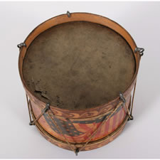 PATRIOTIC AMERICAN TOY DRUM, 1876 CENTENNIAL - SPANISH AMERICAN WAR (1898) ERA